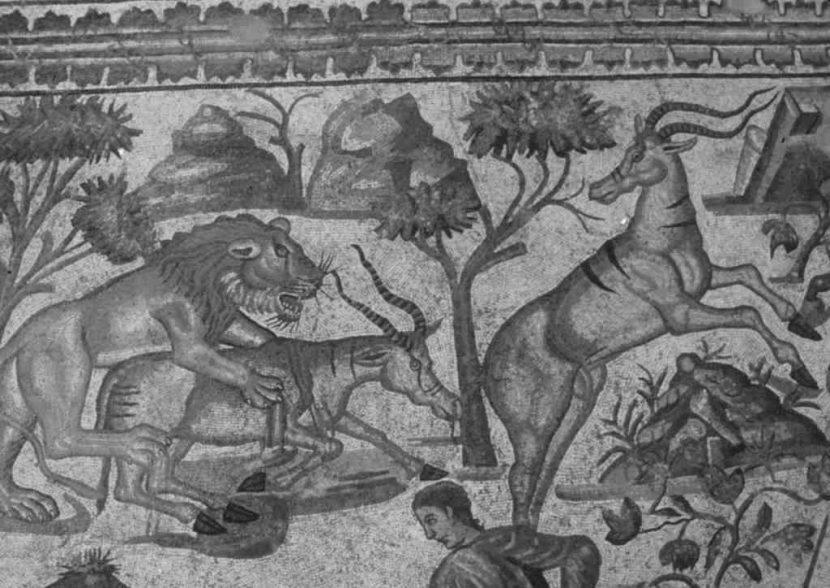 [Detall del mosaic de caça de La Olmeda]