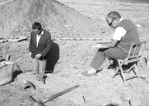 Pere de Palol i Javier Cortes a la vil·la romana de La Olmeda